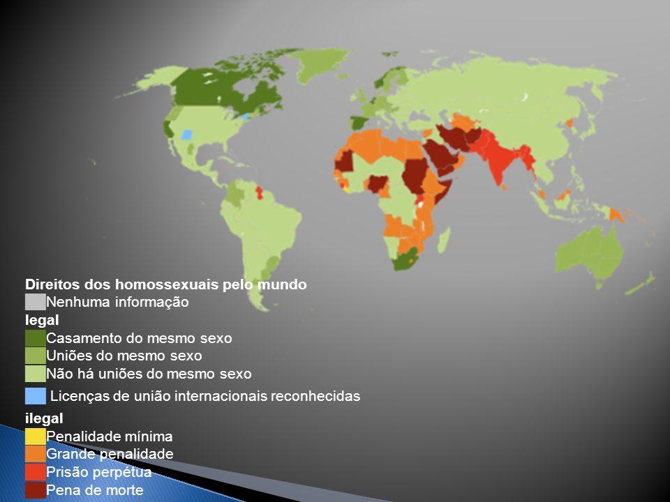 Direitos dos homossexuais pelo mundo ██Nenhuma informação legal ██Casamento do mesmo sexo ██Uniões do mesmo sexo ██Não há uniões do mesmo sexo