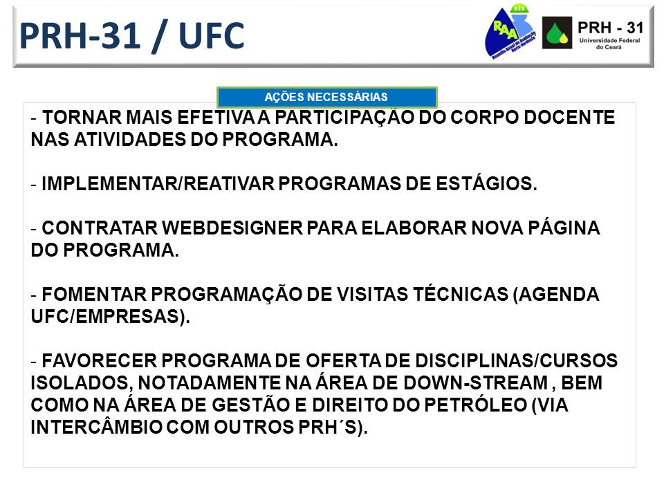 PRH-31 / UFC AÇÕES NECESSÁRIAS. Tornar mais efetiva a participação do Corpo Docente nas atividades do Programa.