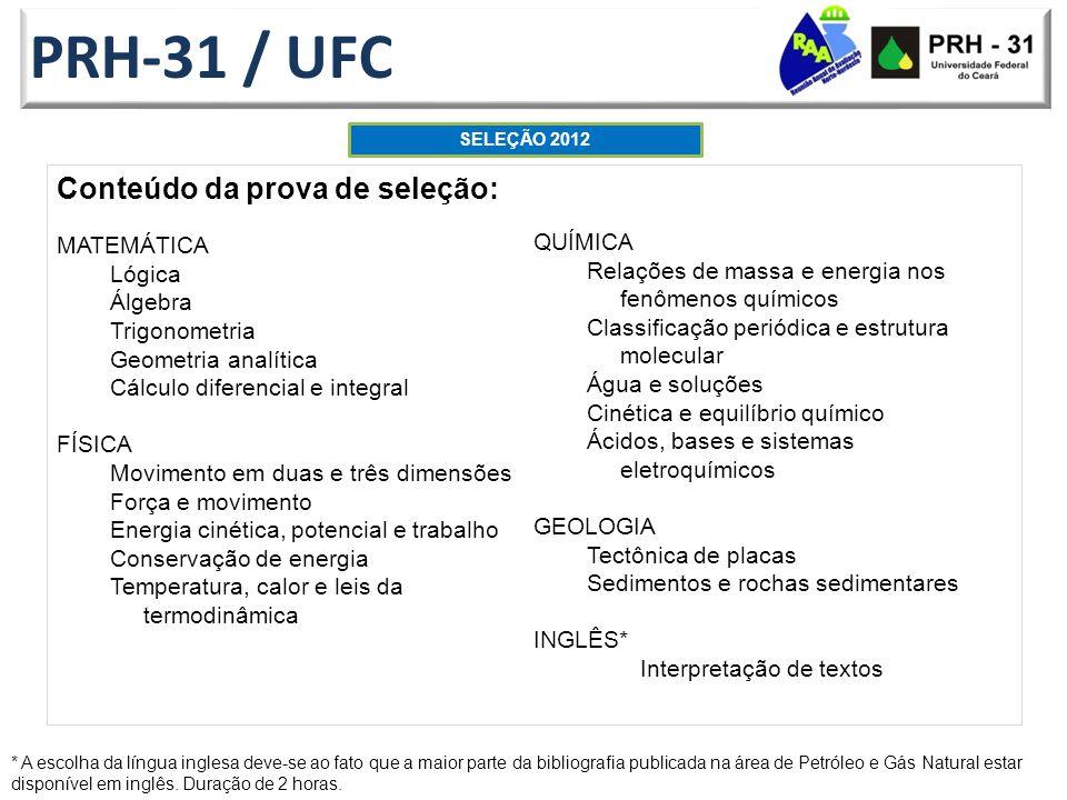 PRH-31 / UFC Conteúdo da prova de seleção: MATEMÁTICA QUÍMICA Lógica