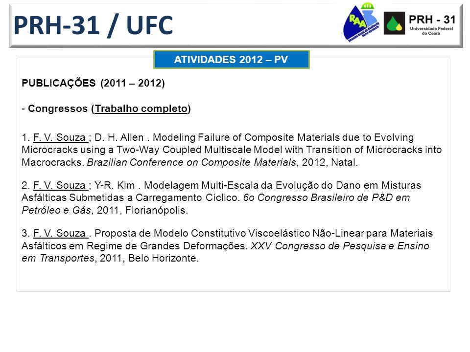 PRH-31 / UFC ATIVIDADES 2012 – PV PUBLICAÇÕES (2011 – 2012)
