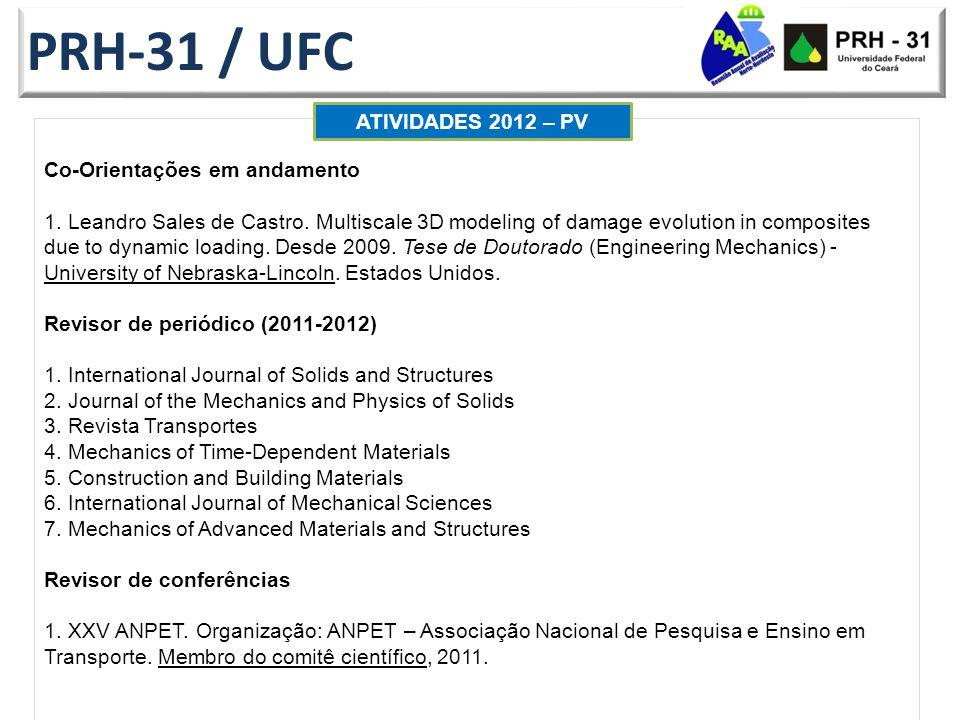 PRH-31 / UFC ATIVIDADES 2012 – PV Co-Orientações em andamento