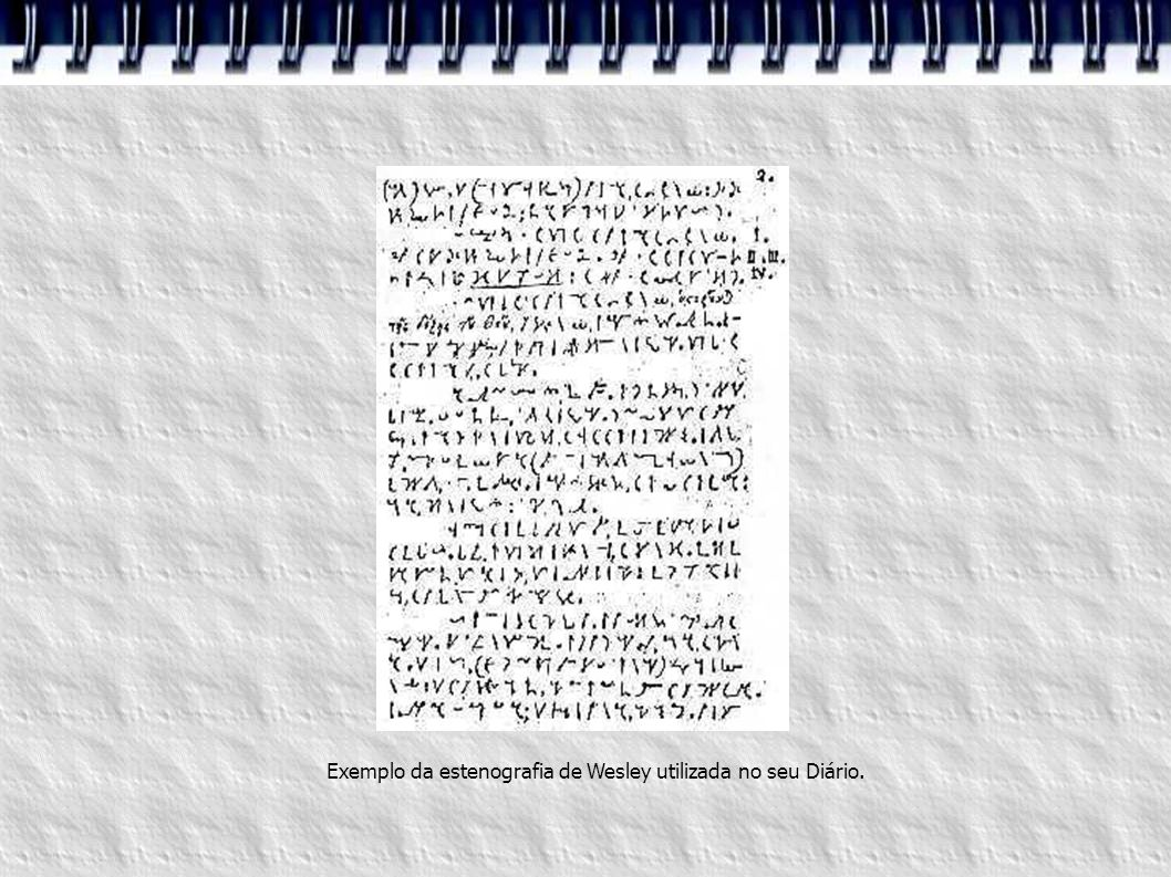 Exemplo da estenografia de Wesley utilizada no seu Diário.