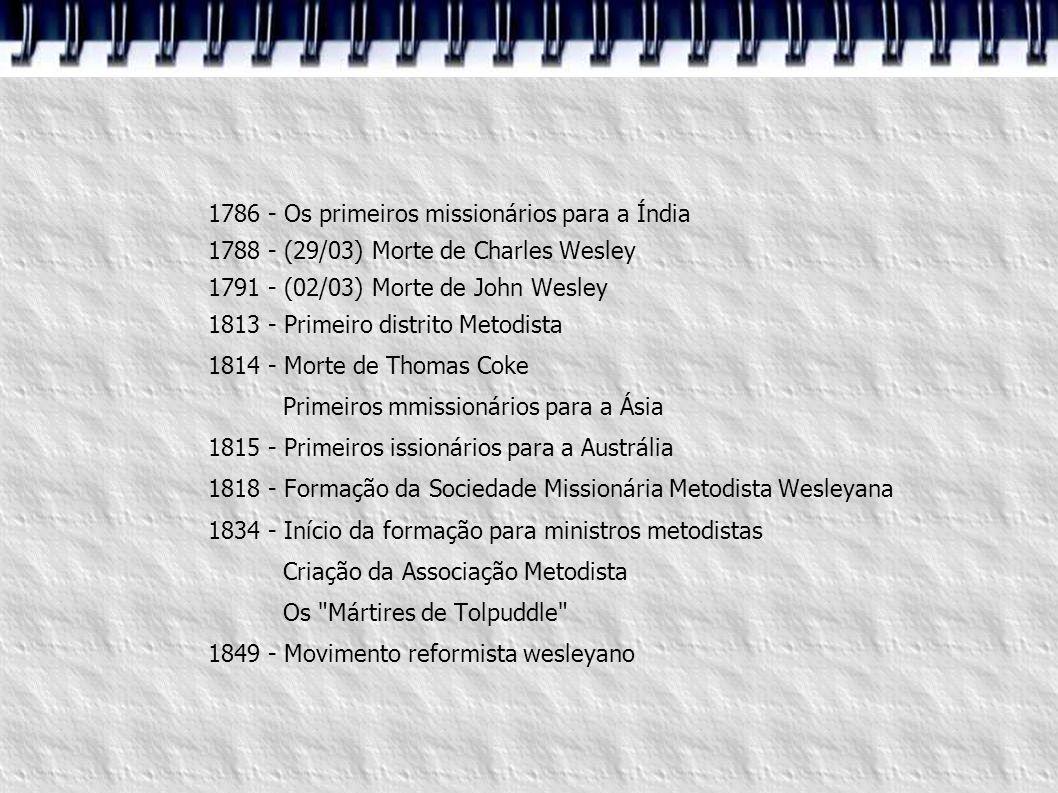 1786 - Os primeiros missionários para a Índia