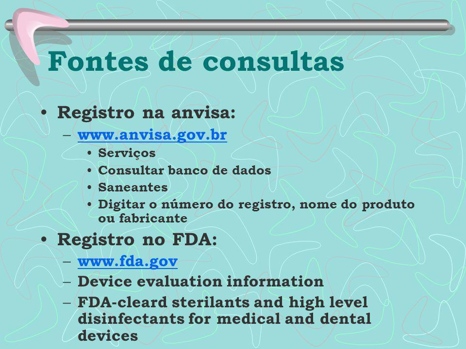 Fontes de consultas Registro na anvisa: Registro no FDA: