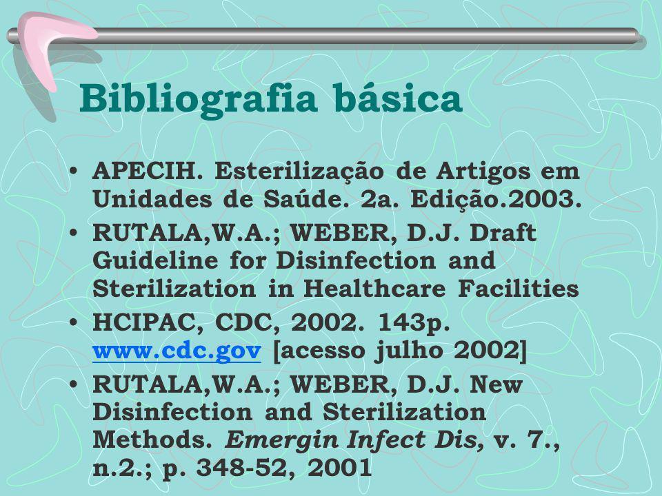 Bibliografia básica APECIH. Esterilização de Artigos em Unidades de Saúde. 2a. Edição.2003.