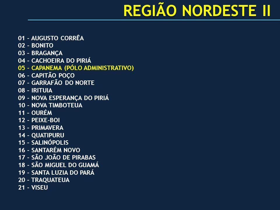 REGIÃO NORDESTE II 01 - AUGUSTO CORRÊA 02 - BONITO 03 – BRAGANÇA
