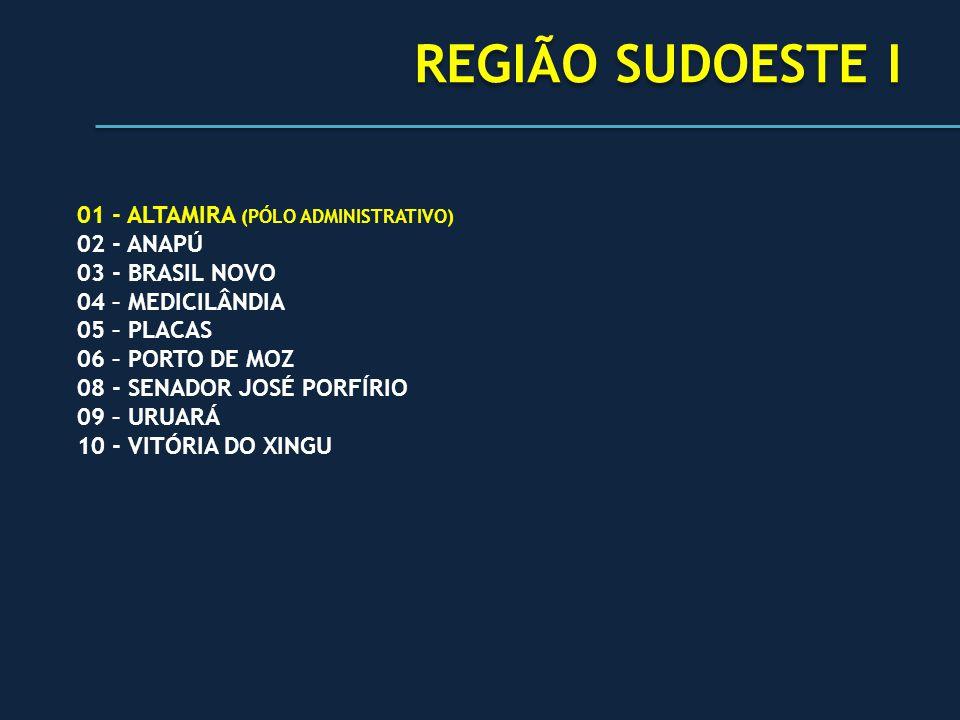 REGIÃO SUDOESTE I 01 - ALTAMIRA (PÓLO ADMINISTRATIVO) 02 - ANAPÚ