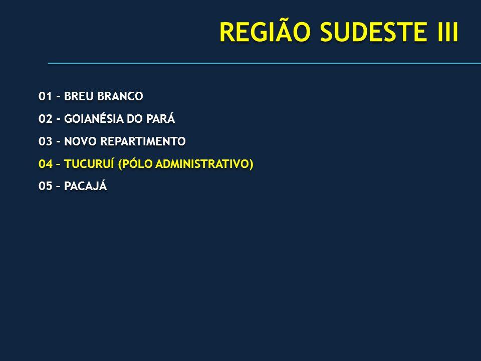 REGIÃO SUDESTE III 01 - BREU BRANCO 02 - GOIANÉSIA DO PARÁ
