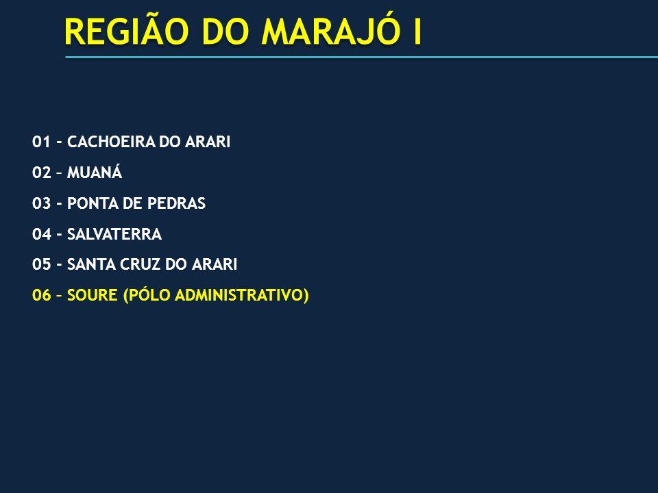 REGIÃO DO MARAJÓ I 01 - CACHOEIRA DO ARARI 02 – MUANÁ