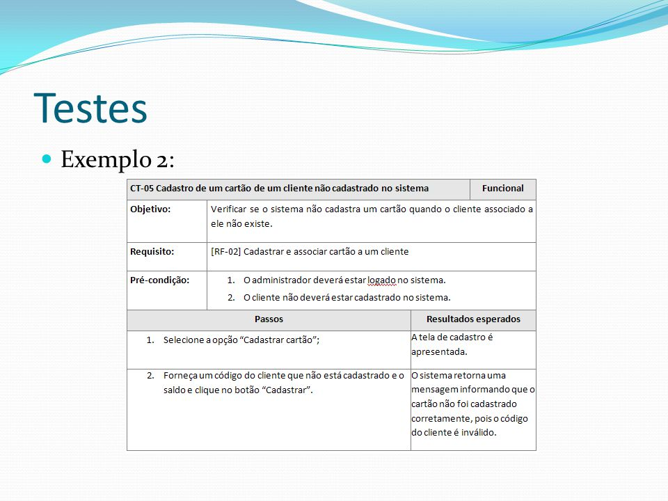 Testes Exemplo 2: