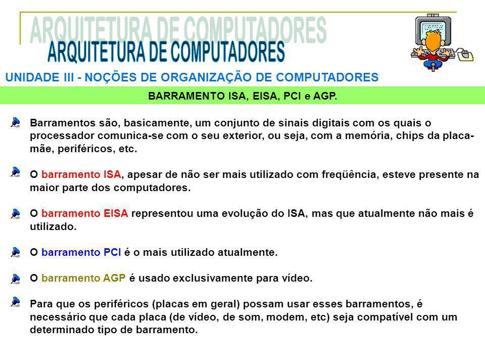 BARRAMENTO ISA, EISA, PCI e AGP.