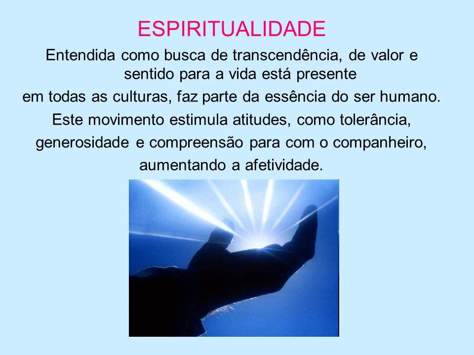 ESPIRITUALIDADE Entendida como busca de transcendência, de valor e sentido para a vida está presente.