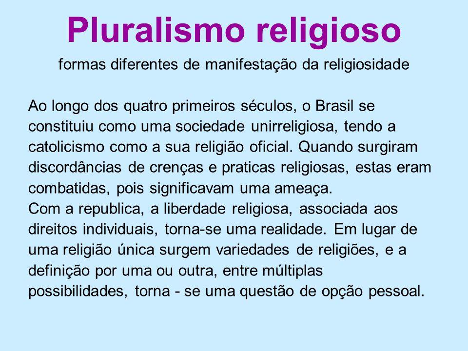 formas diferentes de manifestação da religiosidade