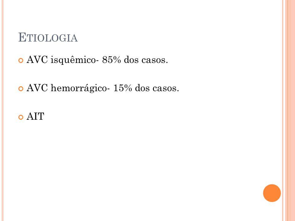 Etiologia AVC isquêmico- 85% dos casos.