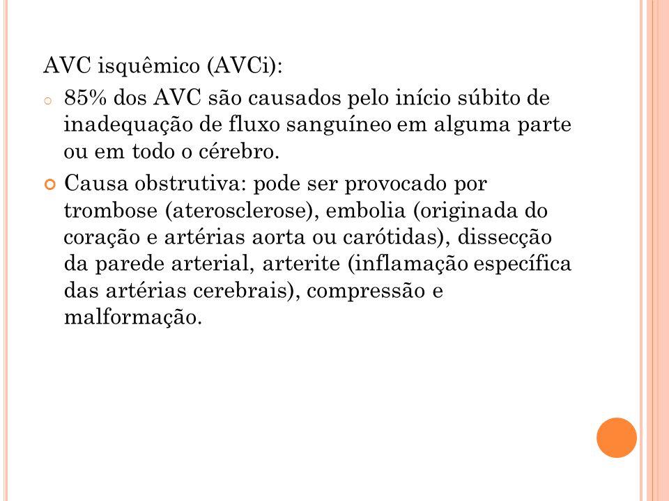AVC isquêmico (AVCi): 85% dos AVC são causados pelo início súbito de inadequação de fluxo sanguíneo em alguma parte ou em todo o cérebro.