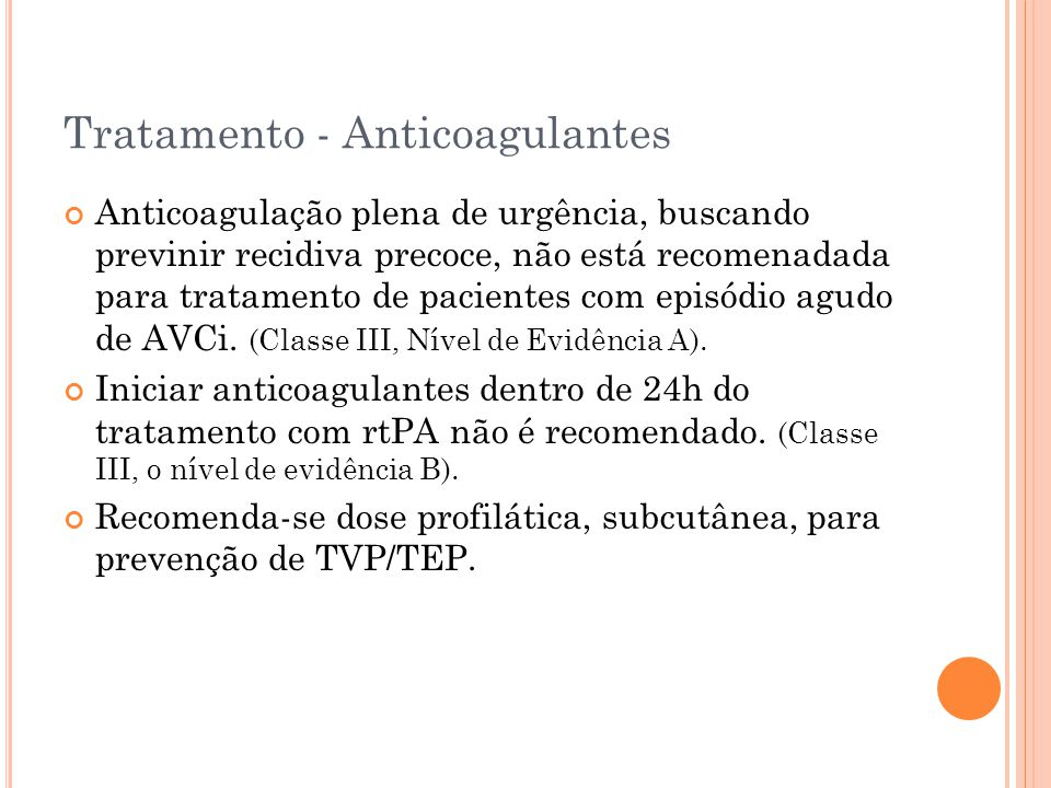 Tratamento - Anticoagulantes
