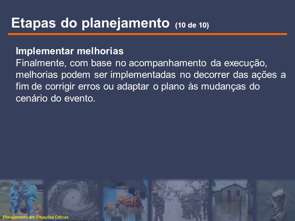 Etapas do planejamento (10 de 10)