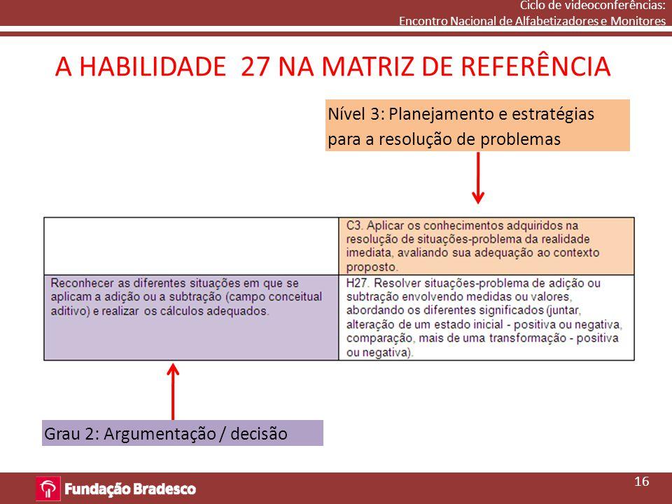 A HABILIDADE 27 NA MATRIZ DE REFERÊNCIA