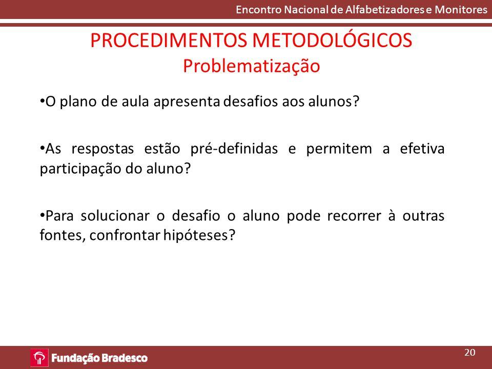 PROCEDIMENTOS METODOLÓGICOS Problematização
