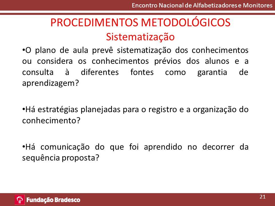 PROCEDIMENTOS METODOLÓGICOS Sistematização