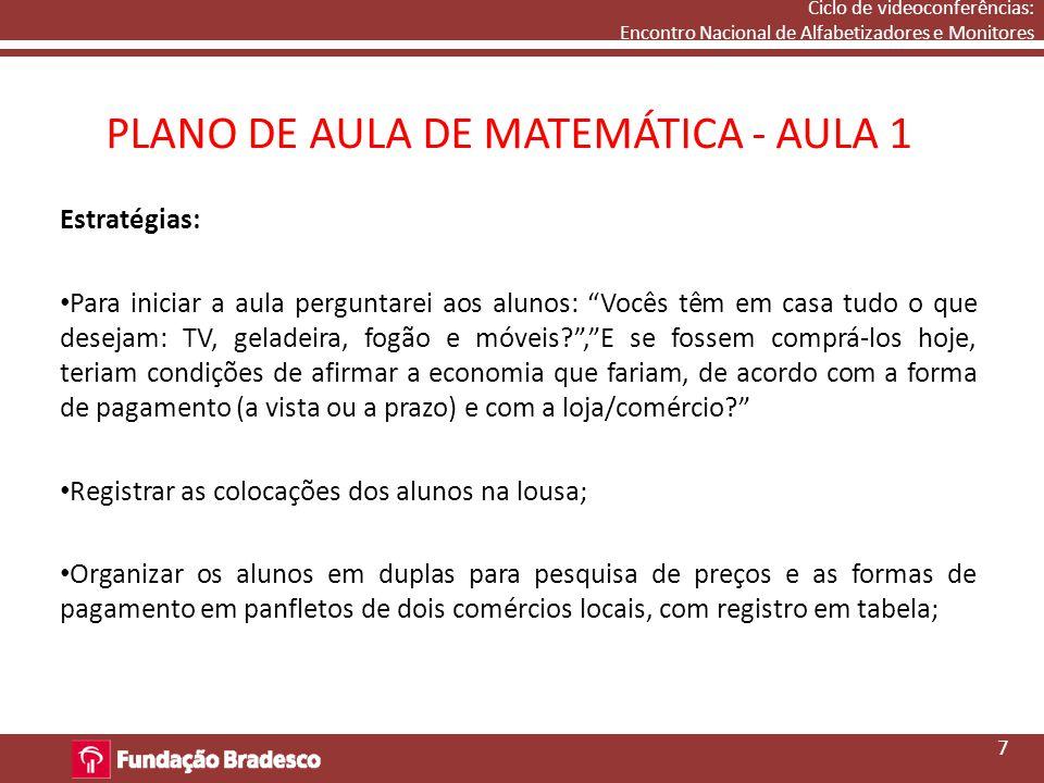 PLANO DE AULA DE MATEMÁTICA - AULA 1