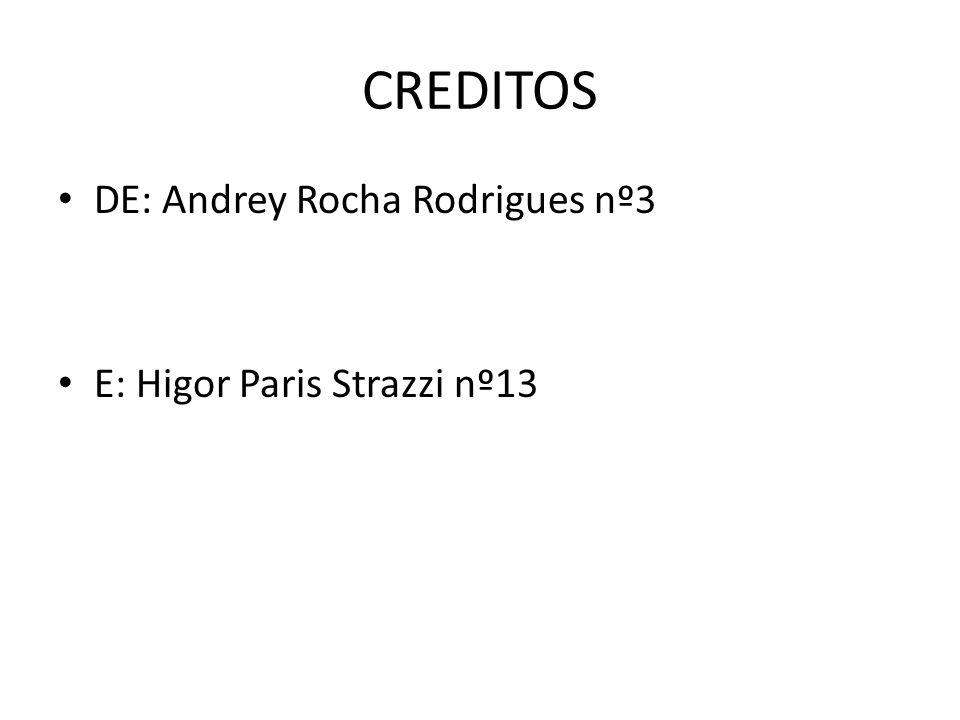 CREDITOS DE: Andrey Rocha Rodrigues nº3 E: Higor Paris Strazzi nº13