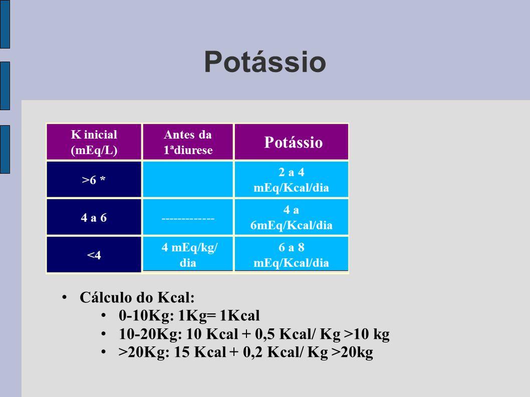 Potássio Cálculo do Kcal: 0-10Kg: 1Kg= 1Kcal