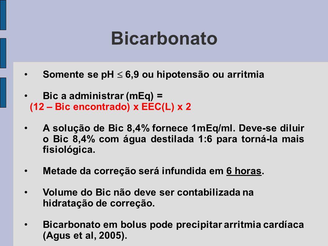 Bicarbonato Somente se pH  6,9 ou hipotensão ou arritmia