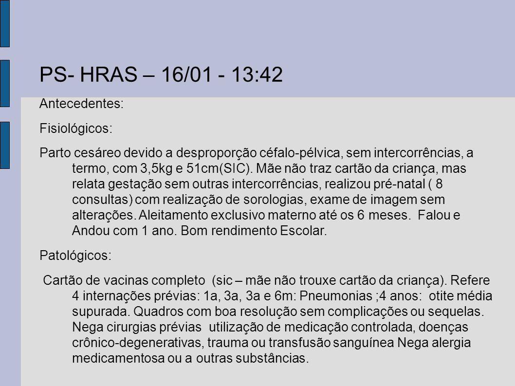 PS- HRAS – 16/01 - 13:42 Antecedentes: Fisiológicos: