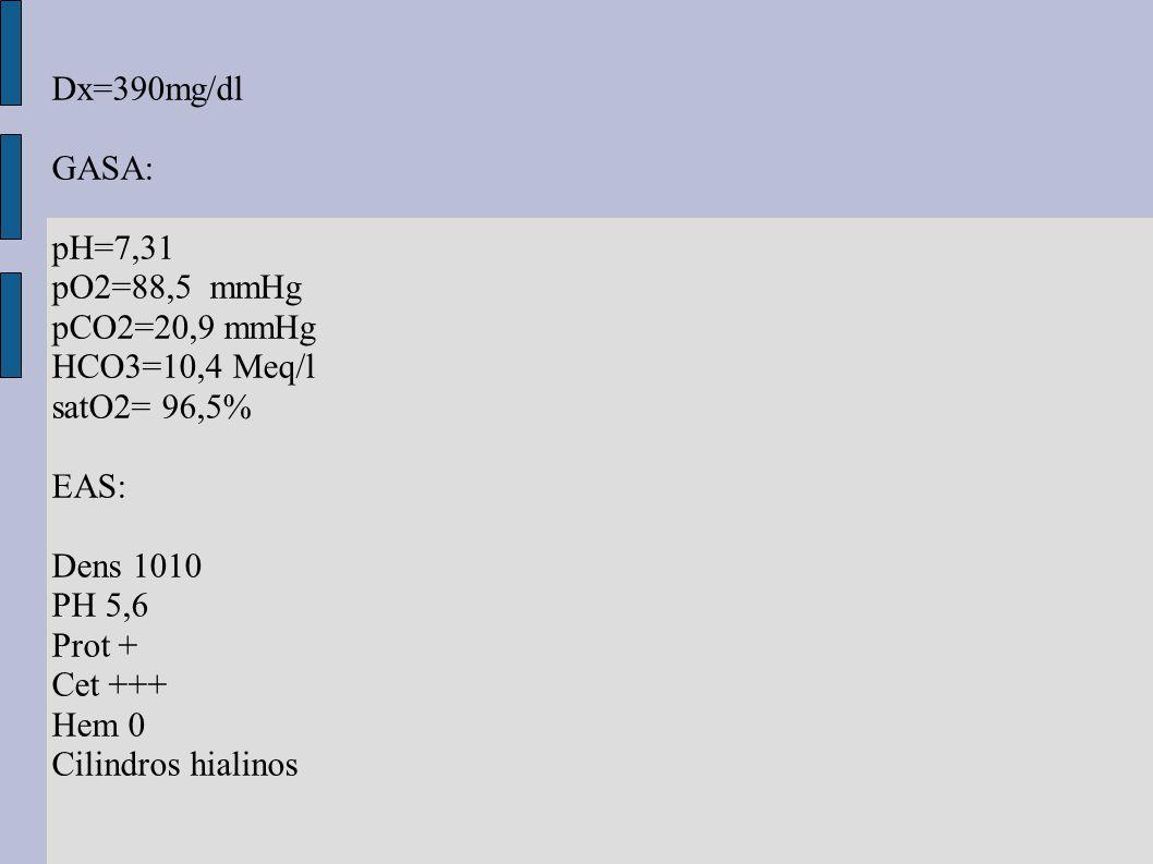 Dx=390mg/dl GASA: pH=7,31. pO2=88,5 mmHg. pCO2=20,9 mmHg. HCO3=10,4 Meq/l. satO2= 96,5% EAS: