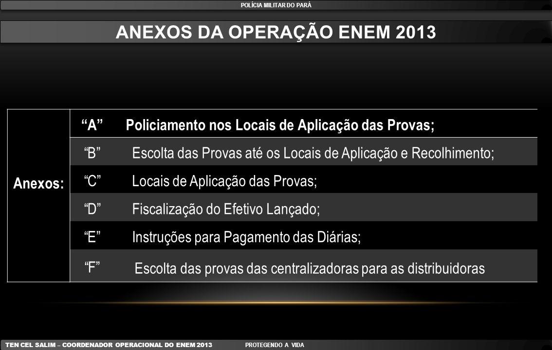POLÍCIA MILITAR DO PARÁ ANEXOS DA OPERAÇÃO ENEM 2013