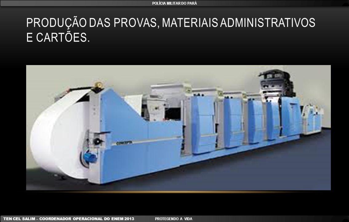Produção das provas, materiais administrativos e cartões.