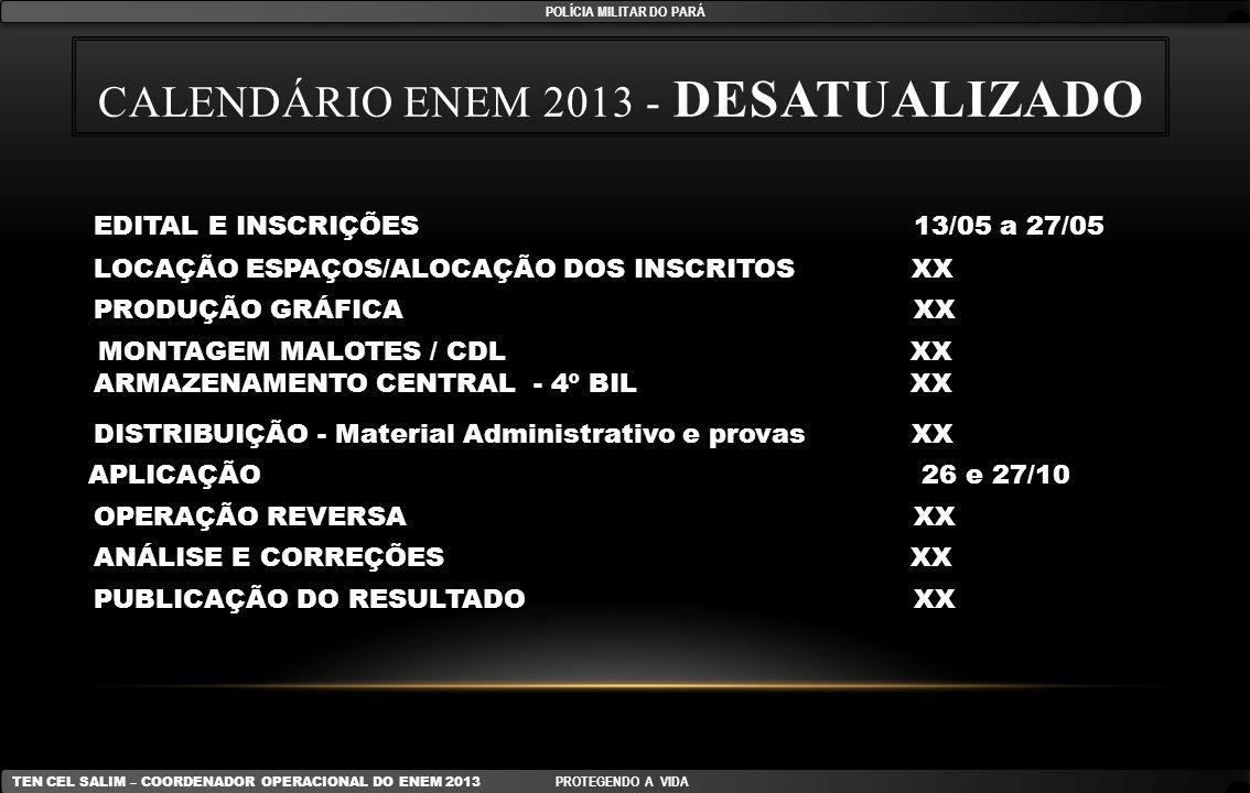 CALENDÁRIO ENEM 2013 - DESATUALIZADO