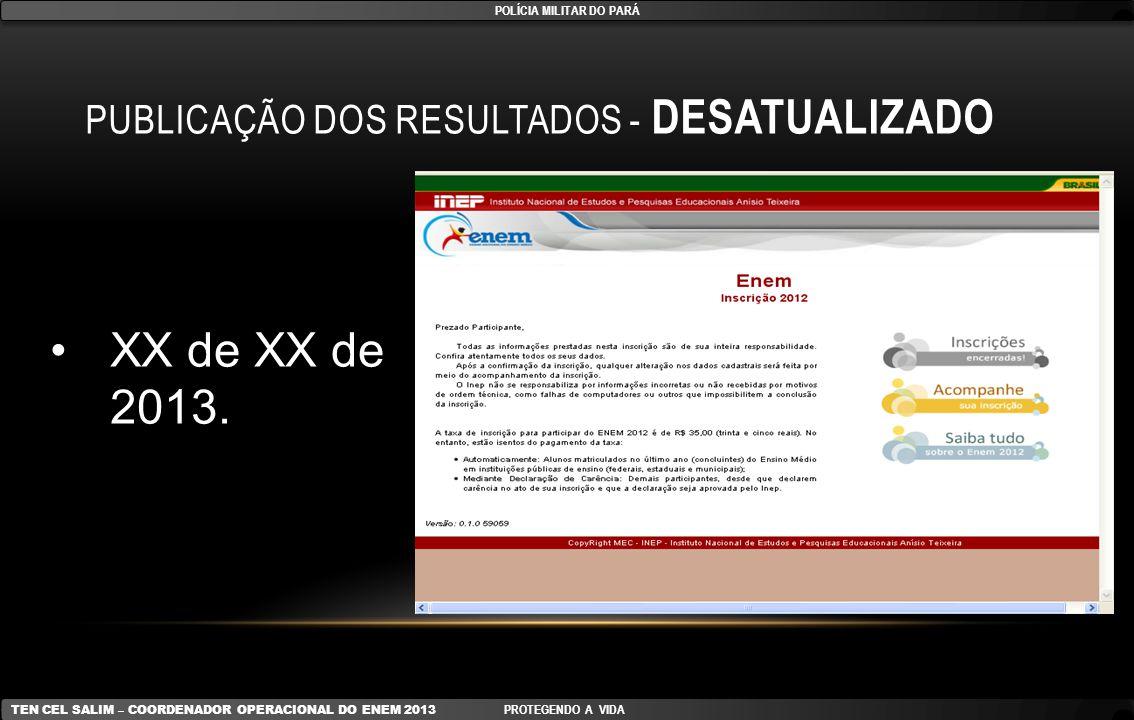Publicação dos resultados - DESATUALIZADO