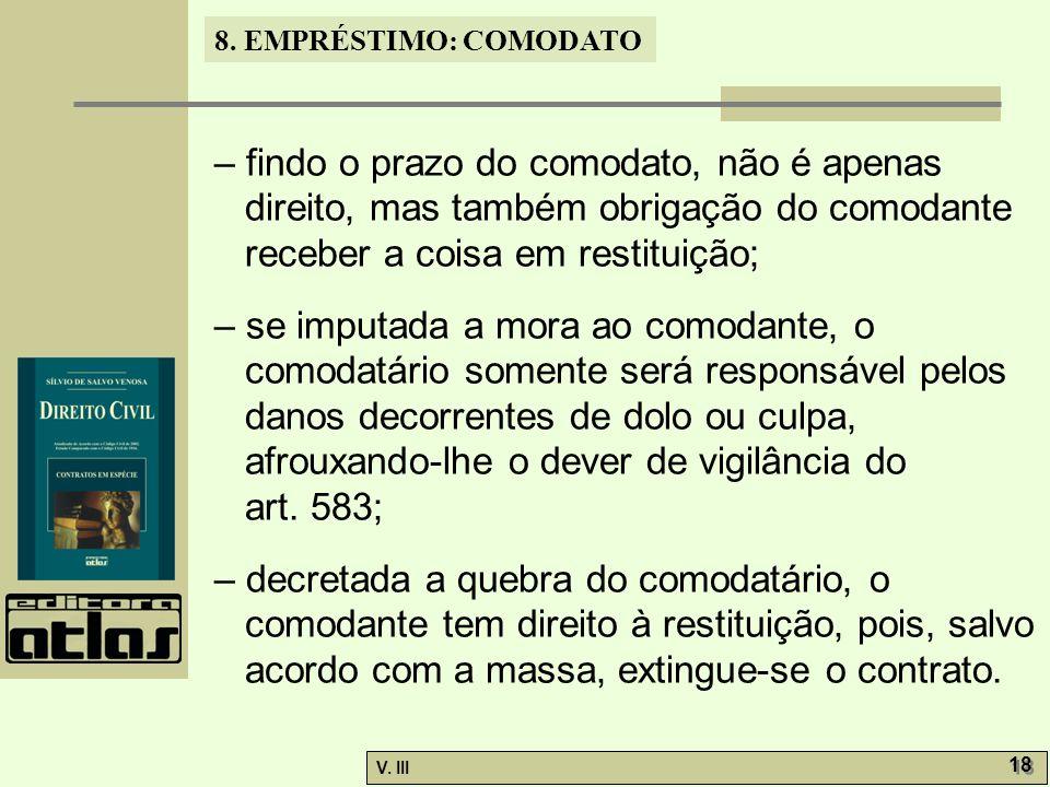 – findo o prazo do comodato, não é apenas direito, mas também obrigação do comodante receber a coisa em restituição;