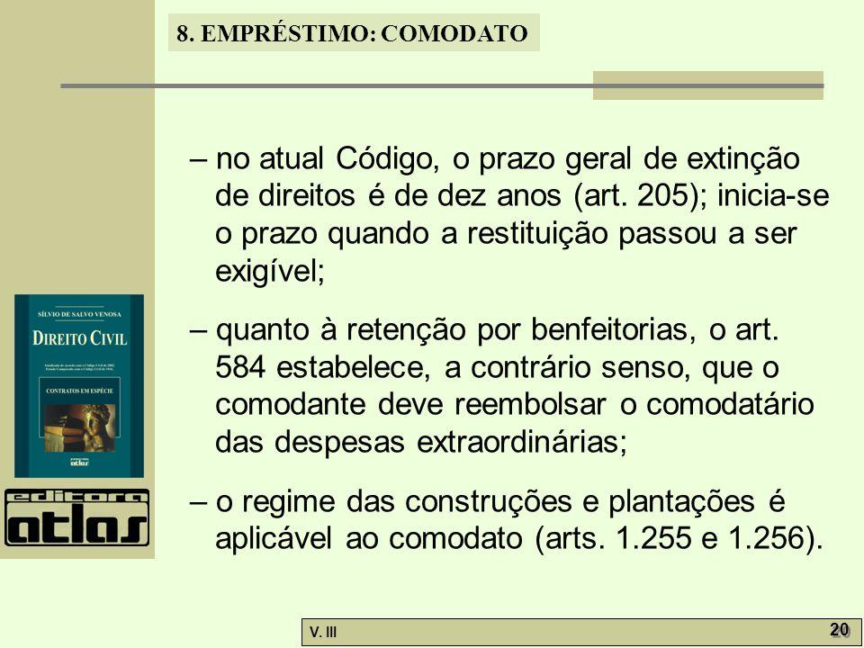 – no atual Código, o prazo geral de extinção de direitos é de dez anos (art. 205); inicia-se o prazo quando a restituição passou a ser exigível;