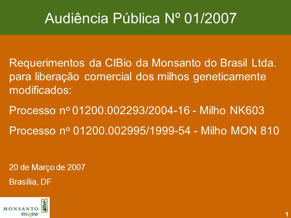 Audiência Pública Nº 01/2007 Requerimentos da CIBio da Monsanto do Brasil Ltda. para liberação comercial dos milhos geneticamente modificados: