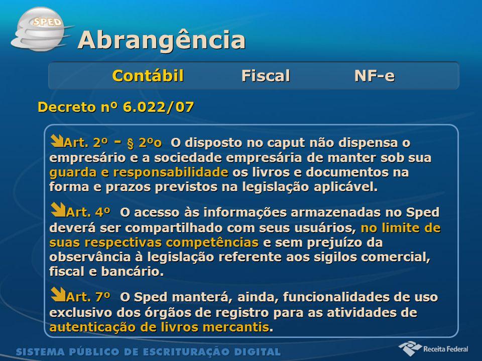 Abrangência Contábil Fiscal NF-e. Decreto nº 6.022/07.
