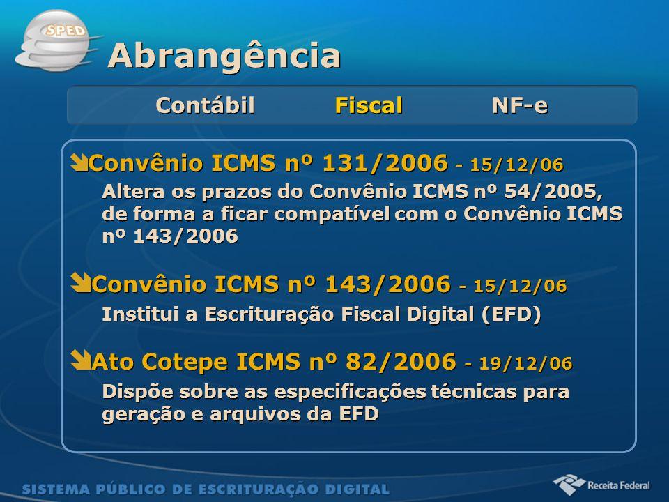 Abrangência Convênio ICMS nº 143/2006 - 15/12/06