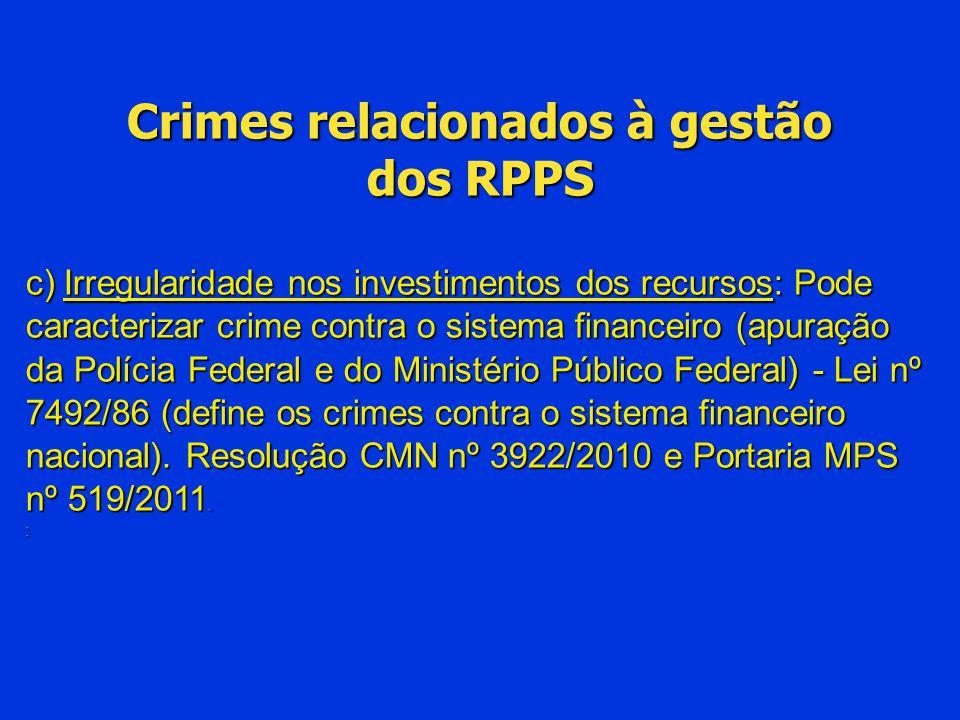 Crimes relacionados à gestão dos RPPS