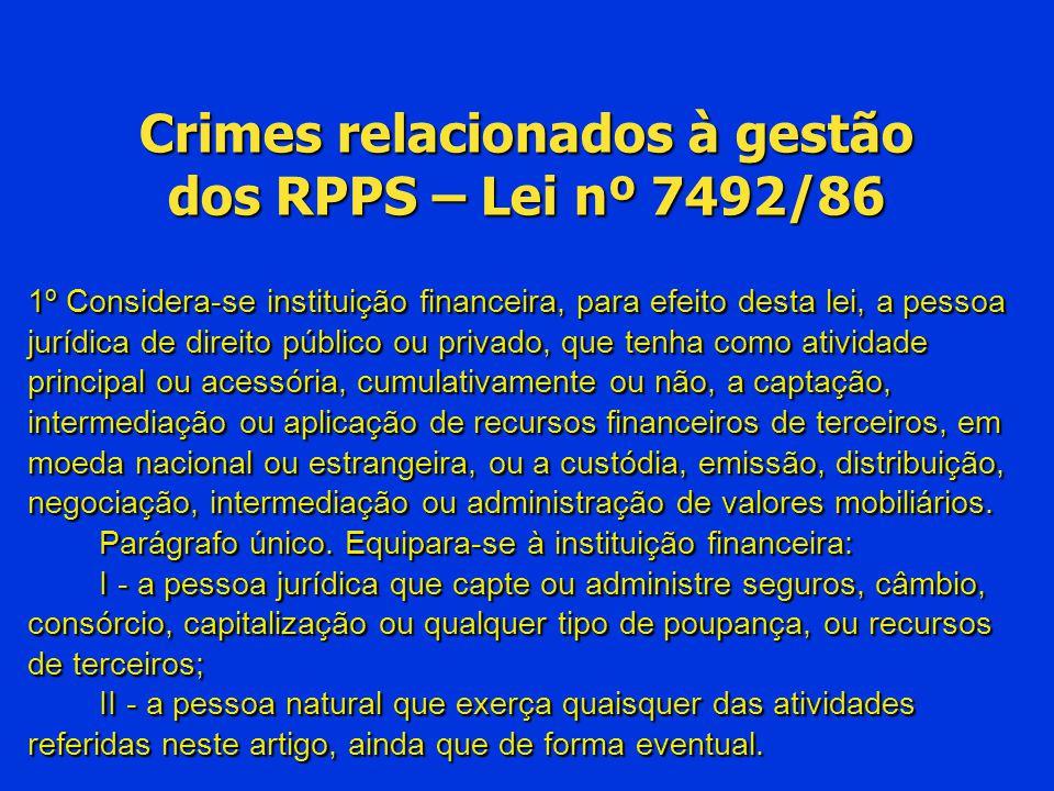 Crimes relacionados à gestão dos RPPS – Lei nº 7492/86