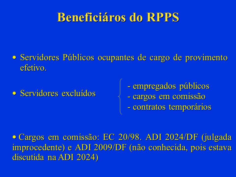 Beneficiáros do RPPS Servidores Públicos ocupantes de cargo de provimento efetivo. Servidores excluídos.