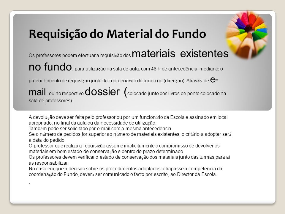 Requisição do Material do Fundo
