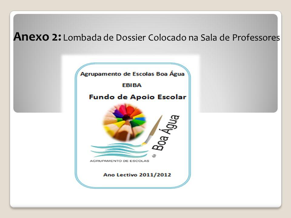 Anexo 2: Lombada de Dossier Colocado na Sala de Professores