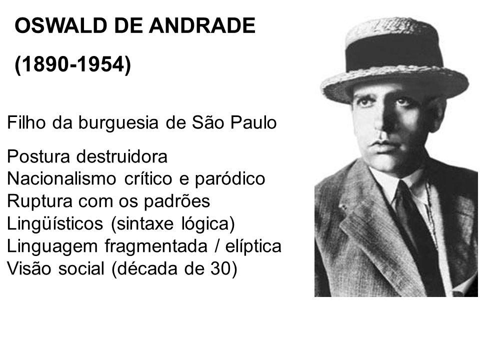OSWALD DE ANDRADE (1890-1954) Filho da burguesia de São Paulo