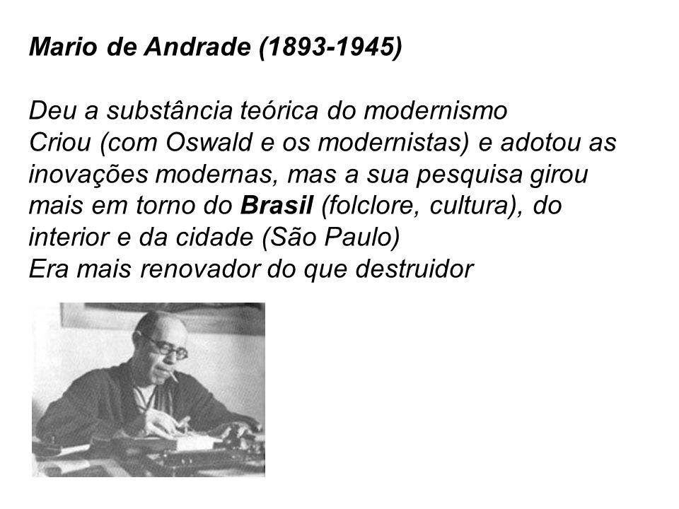 Mario de Andrade (1893-1945) Deu a substância teórica do modernismo.
