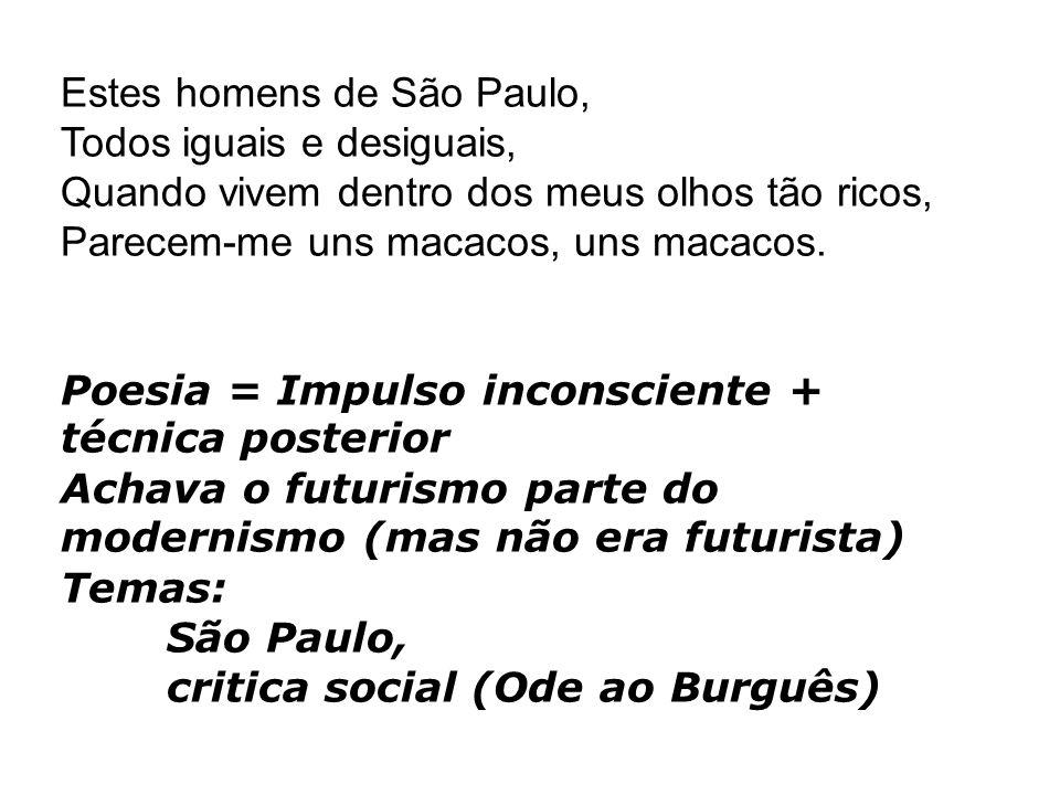 Estes homens de São Paulo, Todos iguais e desiguais, Quando vivem dentro dos meus olhos tão ricos, Parecem-me uns macacos, uns macacos.
