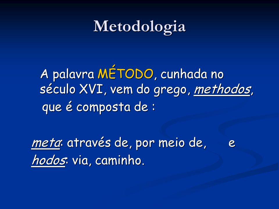 Metodologia A palavra MÉTODO, cunhada no século XVI, vem do grego, methodos, que é composta de : meta: através de, por meio de, e.