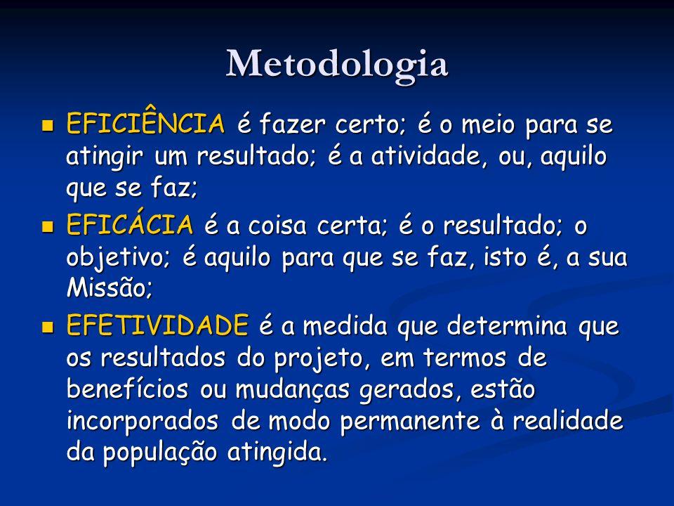 Metodologia EFICIÊNCIA é fazer certo; é o meio para se atingir um resultado; é a atividade, ou, aquilo que se faz;