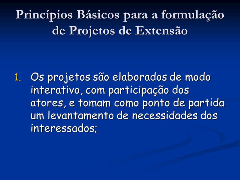 Princípios Básicos para a formulação de Projetos de Extensão